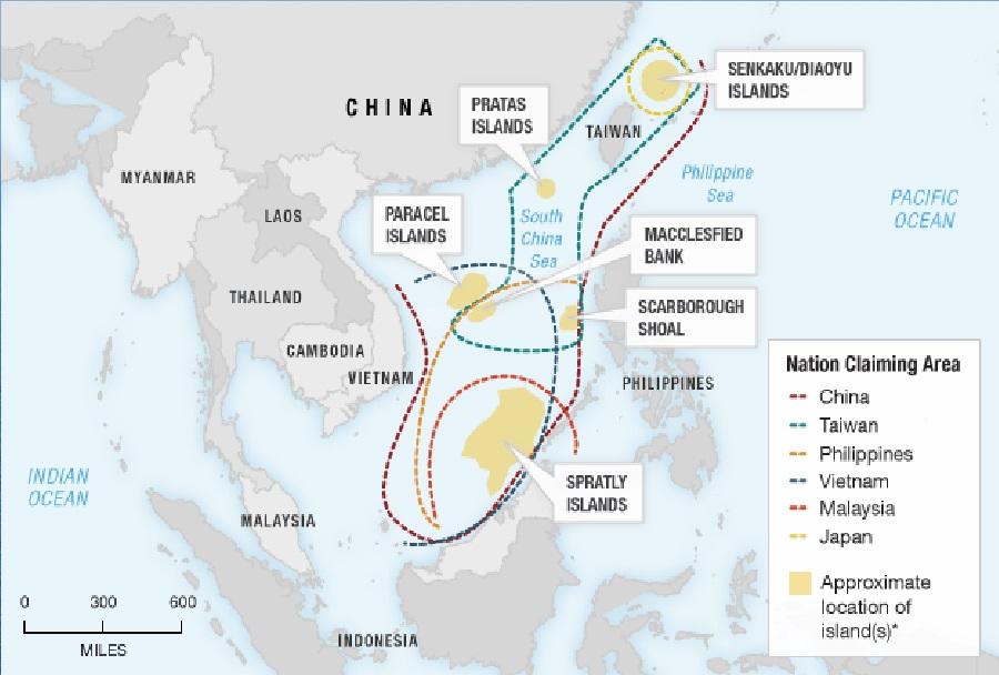 Sporna otočja Paracel, Spratly in Diaoyu (Senkaku)
