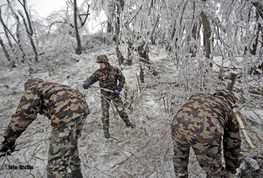 Ujma februar 2014: vojaki odstranjujejo podrto drevje