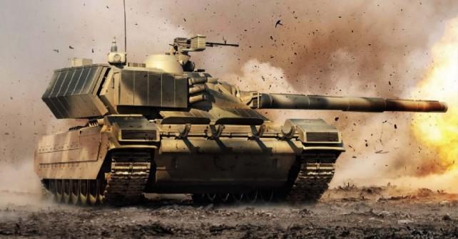 Koncept novega ruskega tanka armata na bojišču