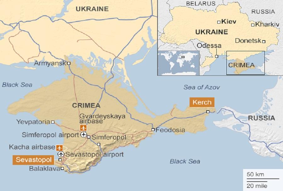 Zemljevid Krimski polotok, Ukrajina