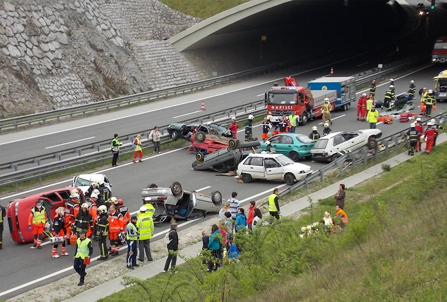 Reševalna vaja na dolenjski avtocesti