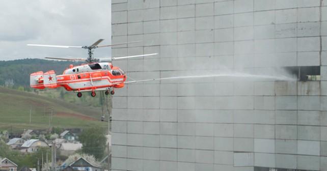 Gašenje požarov v stavbah s helikopterjem Ka-32
