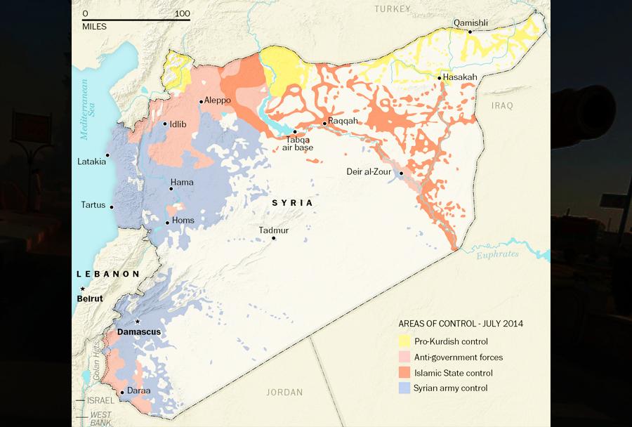 Položaji militantnih skupin v Siriji