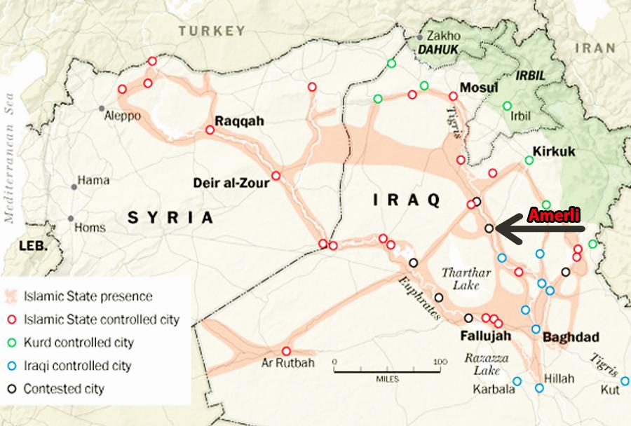 Položaji in spopadi v Iraku - mesto Amerli