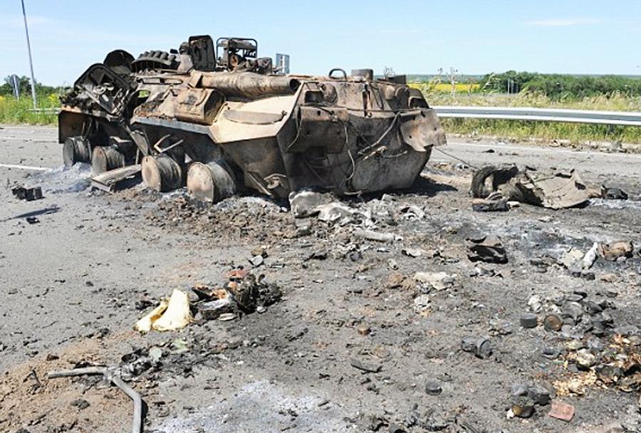 Uničeno ukrajinsko oklepno vozilo BTR-?