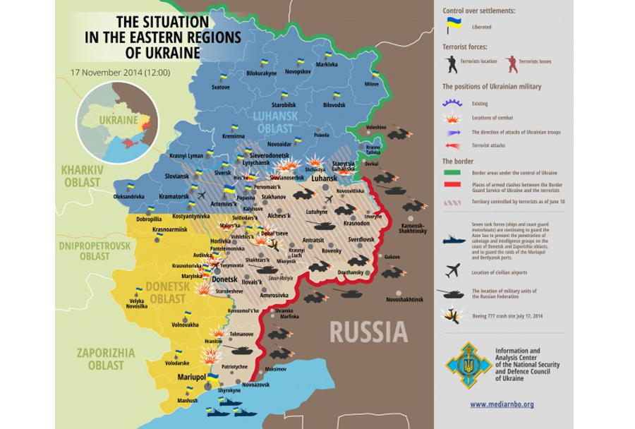 Situacija v vzhodni Ukrajini - zemljevid ukrajinskih oblasti