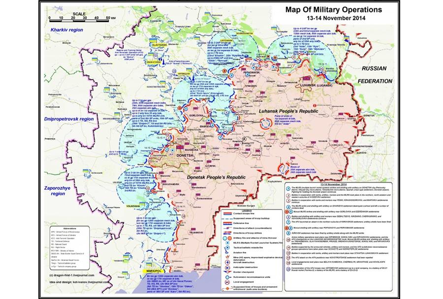 Situacija v vzhodni Ukrajini - zemljevid proruskih separatistov