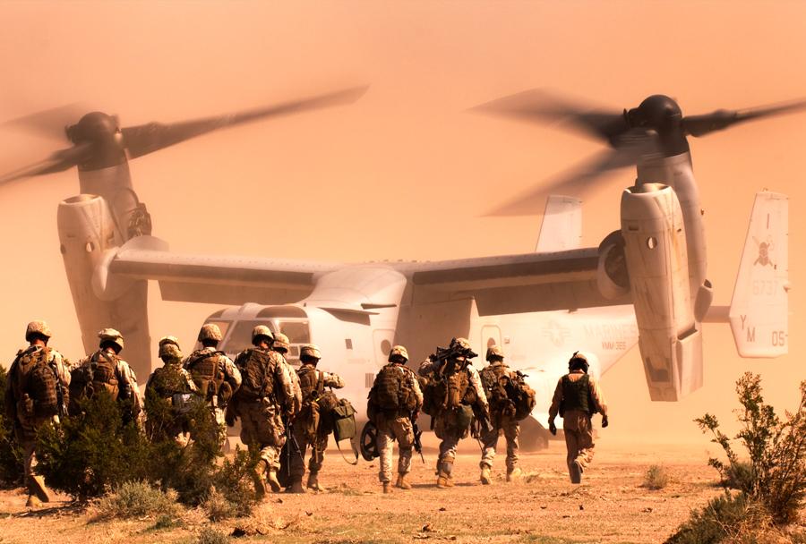 Korpus ameriških marincev in konvertiplan MV-22 osprey