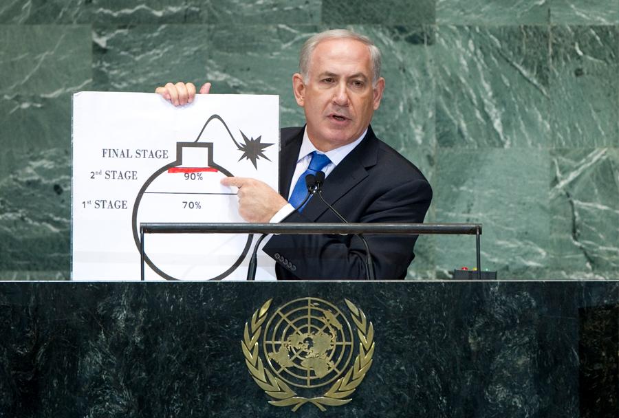 Izraelski premier Netanjahu v ZN (september 2012)