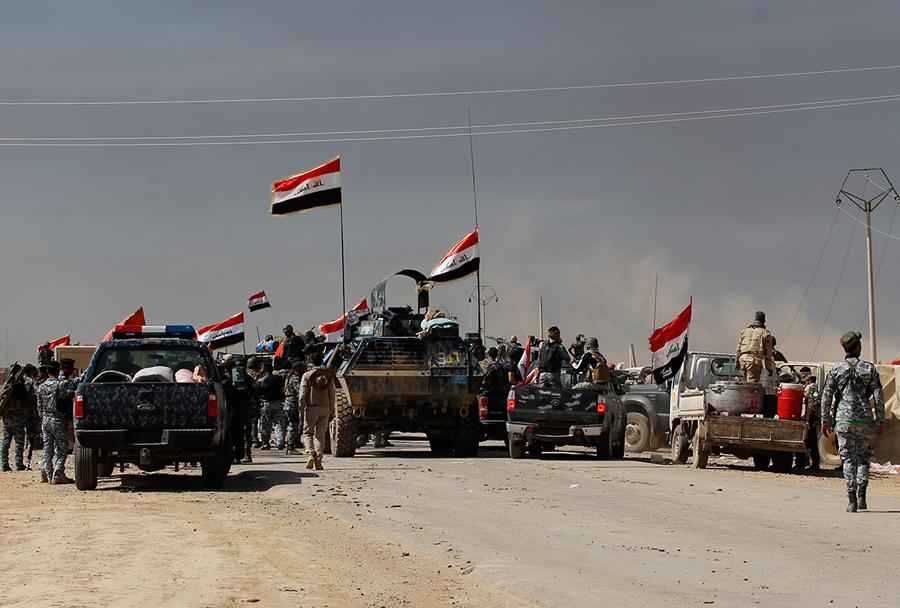 Šiitske milice na obrobju Tikrita