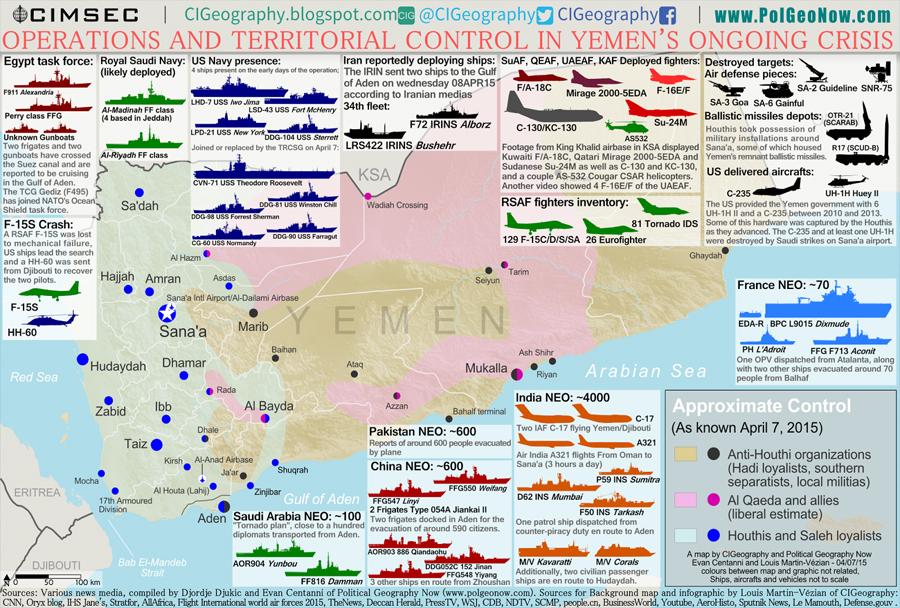 vojna v Jemnu - zemljevid