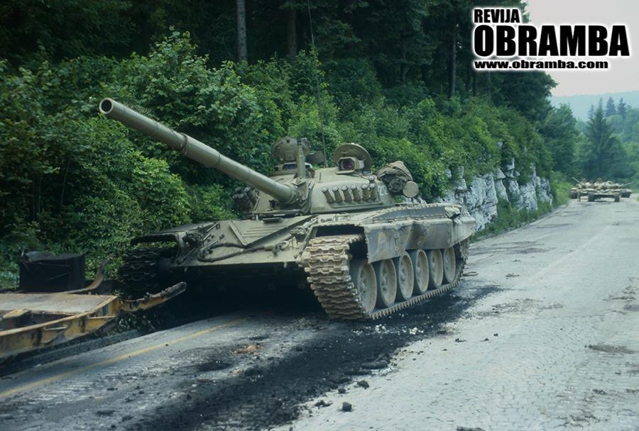 Vojna za Slovenijo: uničen tank M-84, Logaški klanec 3. julij 1991