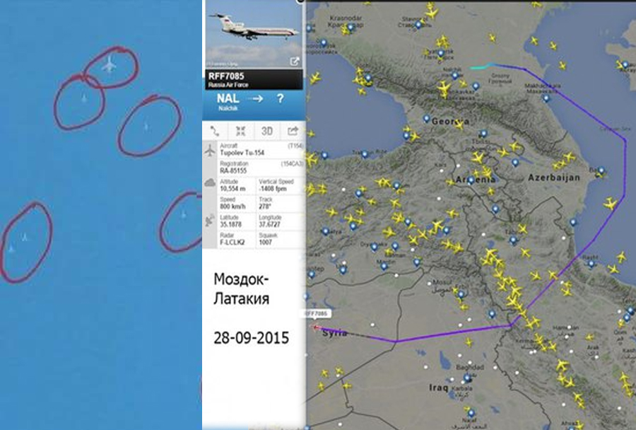 Ruski Tu-154 in lovski bombniki Su-34 na poti v Sirijo