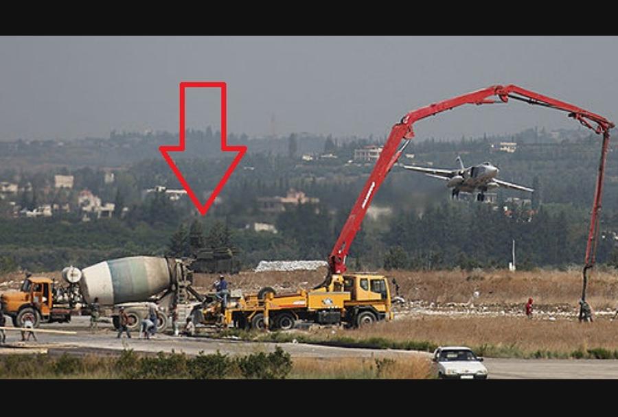 Ruski raketni sistem pancir-S1 v letalski bazi Bassel Al-Assad, Sirija