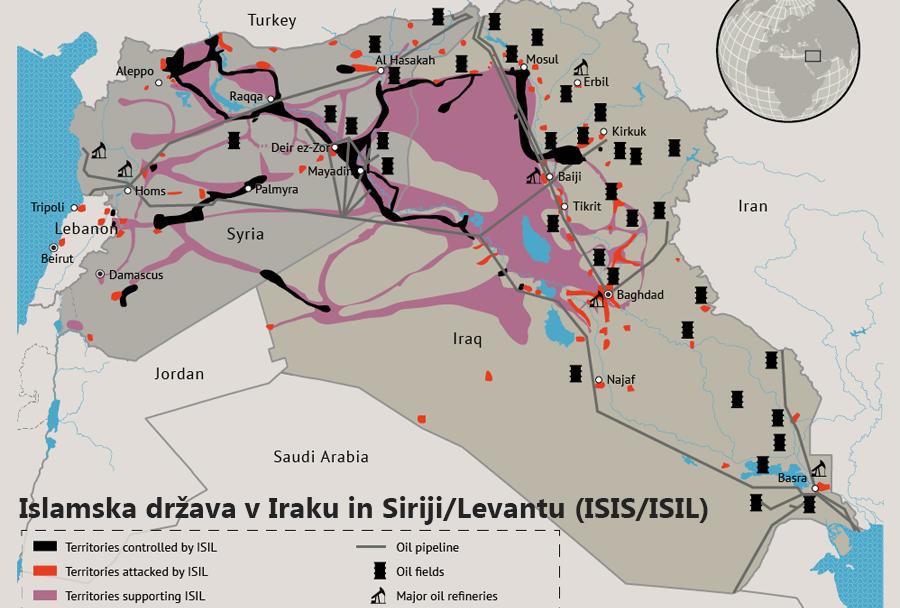 zemljevid ozemlja pod nadzorom ISIS-a
