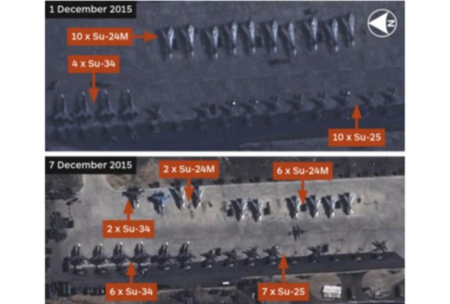 Satelitski posnetek ruskih letal v Siriji
