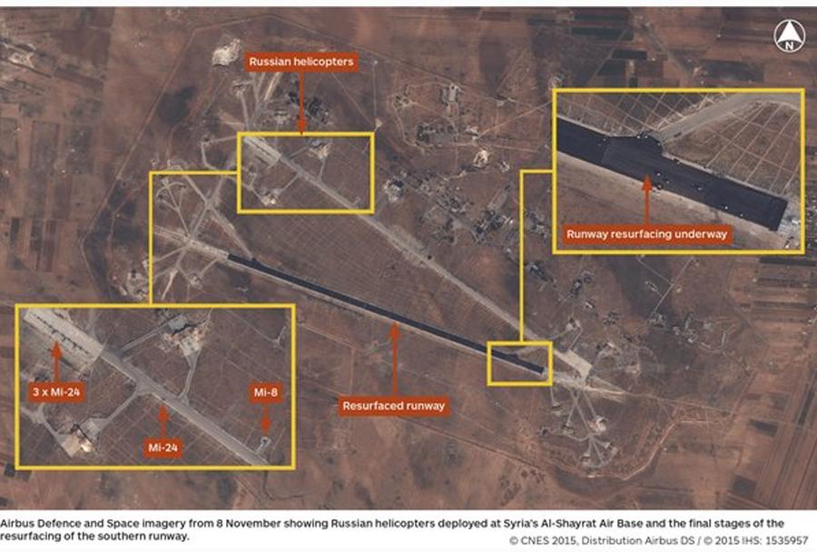 Satelitski posnetek sirskega vojaškega letališča al-Shayrat