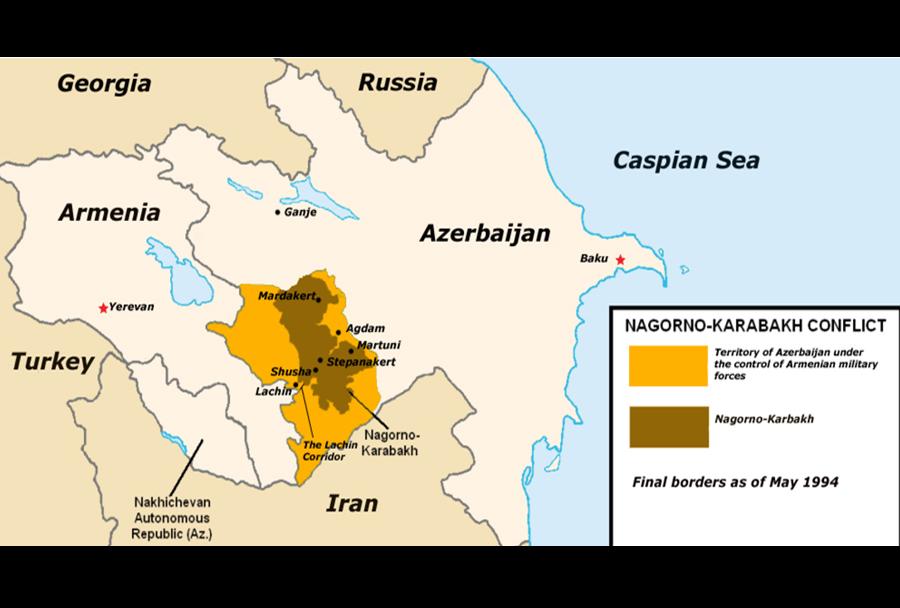 Zemljevid spornega ozemlja na Gorskem Karabahu