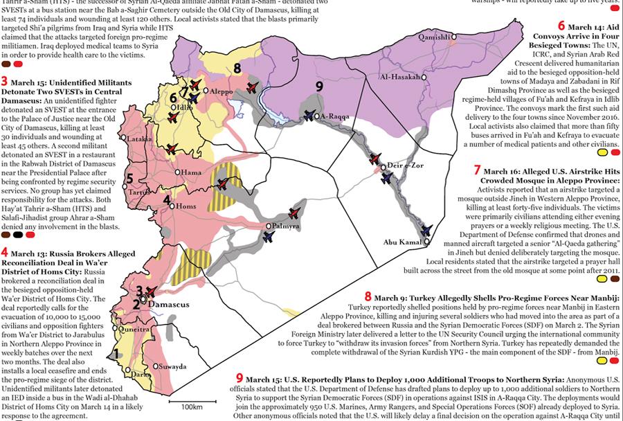 Zemljevid položajev sil v Siriji (20 marec 2017).
