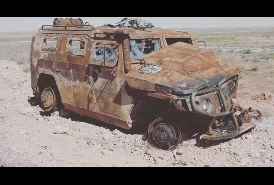Ruski oklepnik tigr-4x4 po napadu v Siriji.