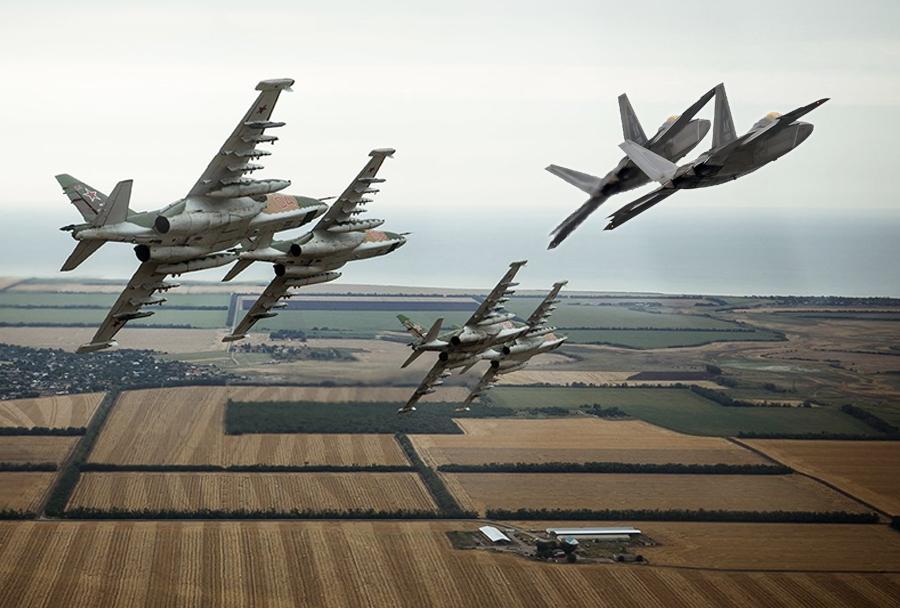 F-22 in Su-25