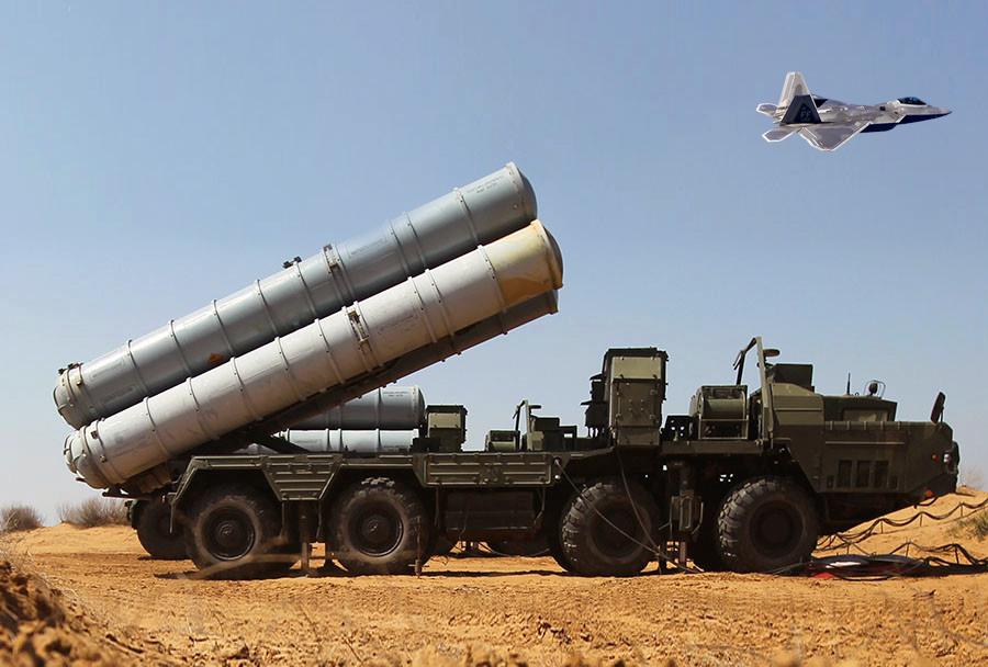 Fotomontaža: raketni sistem S-300 in lovec F-22
