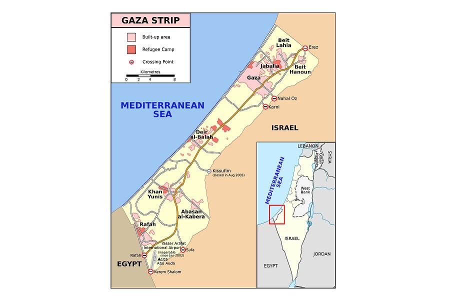 Gaza - zemljevid