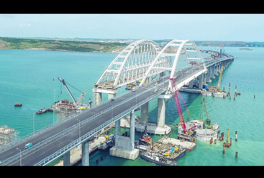 Krimski most - gradnja železniškega tira