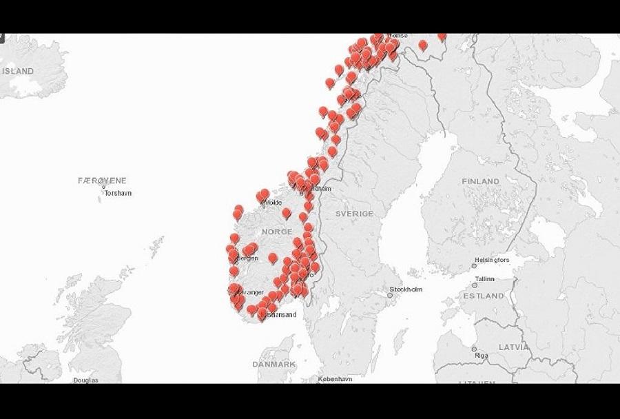Zemljevid norveških vojaških objektov