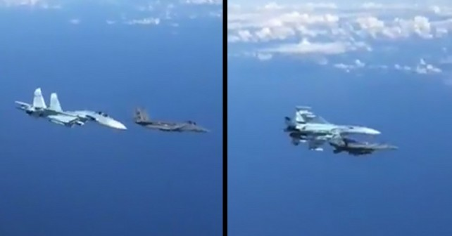 Nevarno srečanje ruskega lovca Su-27 in ameriškega F-15 nad Baltikom