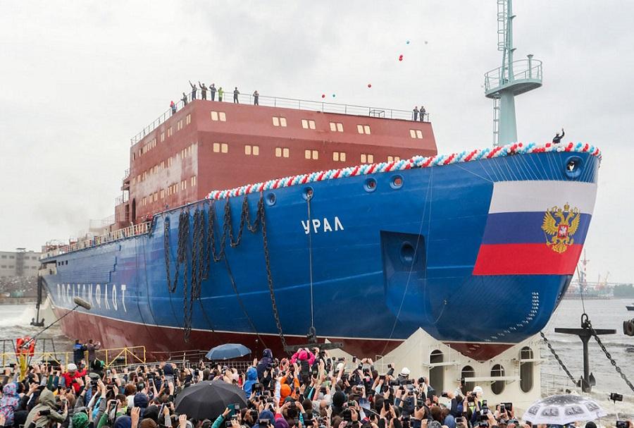 Ruski jedrski ledolomilec LK-60 (projekt 22220) - splavitev