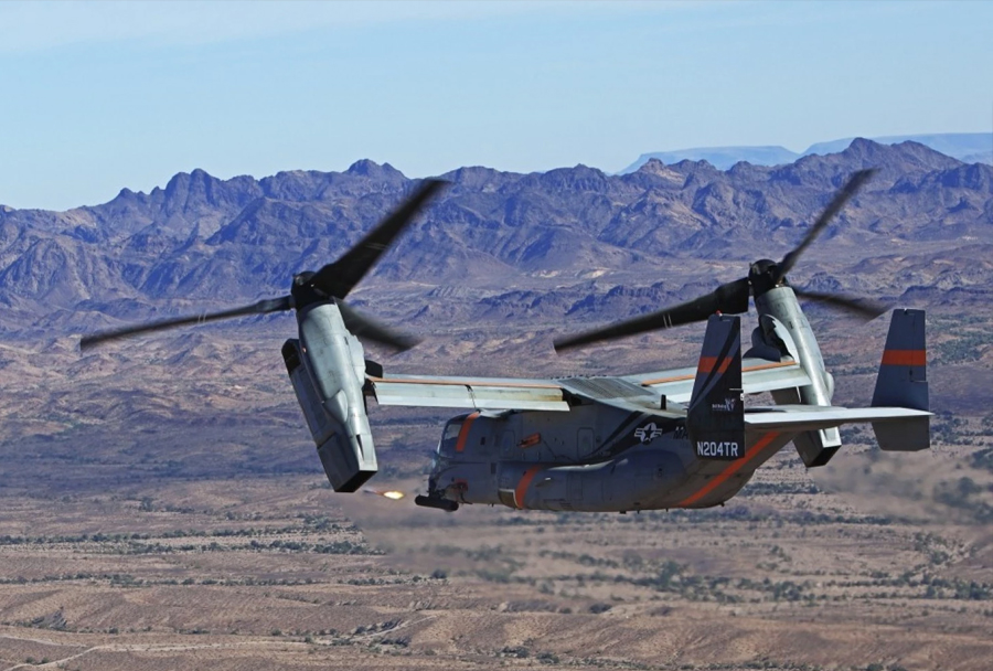 Konvertiplan Bell/Boeing V-22 osprey oborožen z raketami