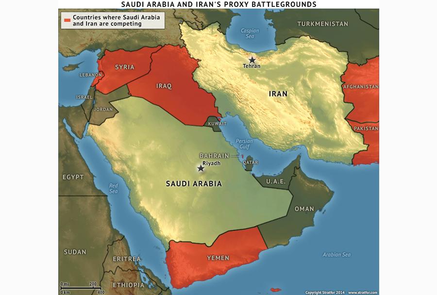 Države, kjer Iran in Savdska Arabija tekmujeta