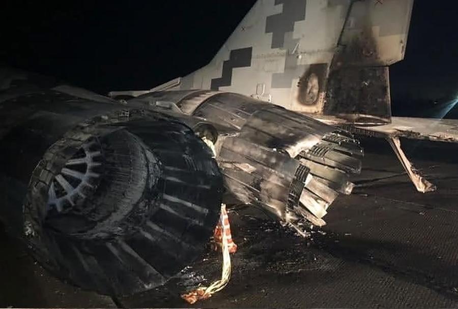 Poškodovani ukrajinski lovec MiG-29